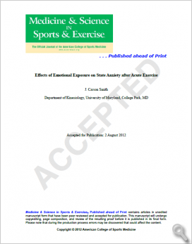 Effects of Emotional Exposure on State Anxiety after Acute Exercise