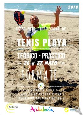 Cartel Curso Instructor de Tenis Playa 2018
