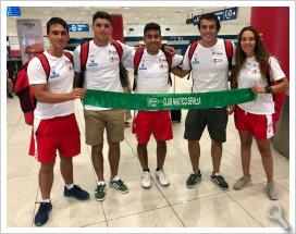 Los internacionales del club sevillano, rumbo al Europeo.